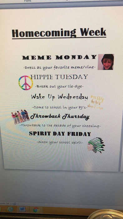 Homecoming week themes!